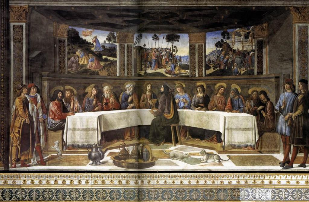 Ultima cena, affresco di Cosimo Rosselli, Cappella Sistina vaticana, 1481-82.