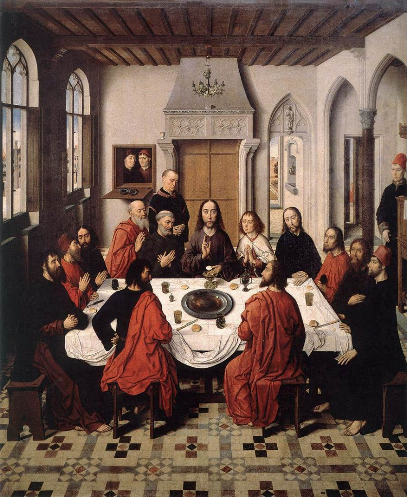 Ultima cena, Dieric the Elder Bouts, olio su tavola, Sint-Pieterskerk, Leuven, 1464-67.